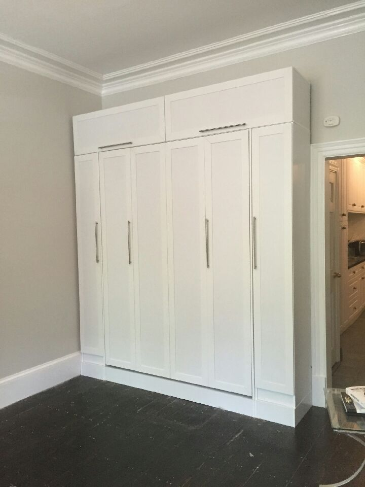 Delightful Queen Size Murphy Bed With Custom Hutch + Bookcases On Podium With Raised  Panel