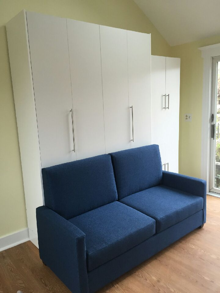 Vertical Queen Size Murphy Bed With Murphy Sofa In White   Closed 2